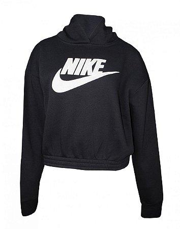 Blusão Moletom Nike Icn Clsh Flc Hoodie Bb Feminino Preto/Branco - CJ2034-010