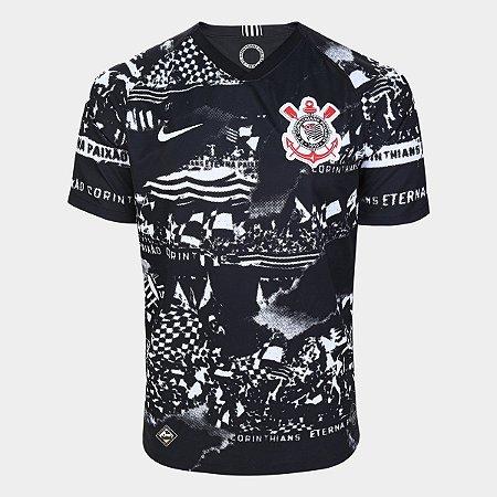 Camisa Corinthians III 19/20 Torcedor s/nº Nike Masculina - Invasões - Todo Poderoso Timão - Preto e Branco