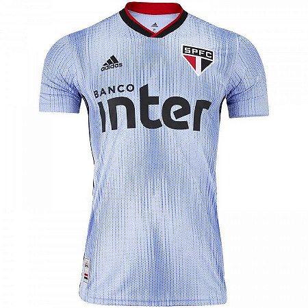 Camiseta Adidas São Paulo 3 Masculina Azul Celeste/Preto/Vermelho