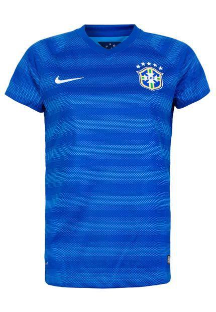 Camisa Nike Brasil II Feminina Torcedor Azul 575306-493