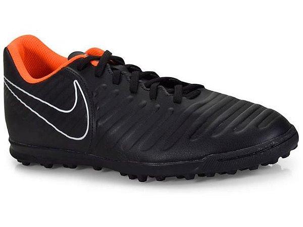 Chuteira Society Nike Tiempo Legendx 7 Club Preto/laranja Ah7248-080