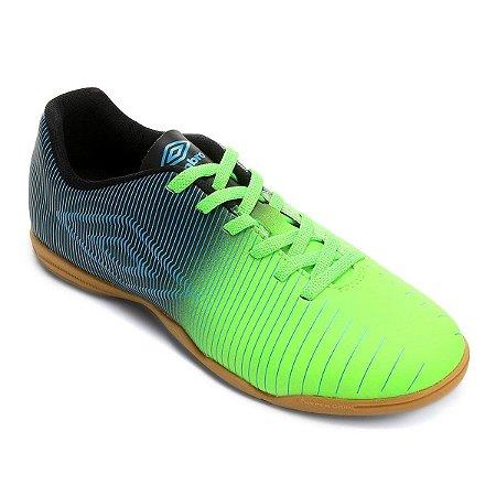 Chuteira Futsal Umbro Vibe Masculina - Azul Petróleo e Verde Limão