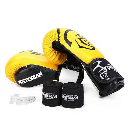 Kit Luva de Boxe/Muay Thai Pretorian Elite + Bandagem + Protetor Bucal - Amarelo e Preto