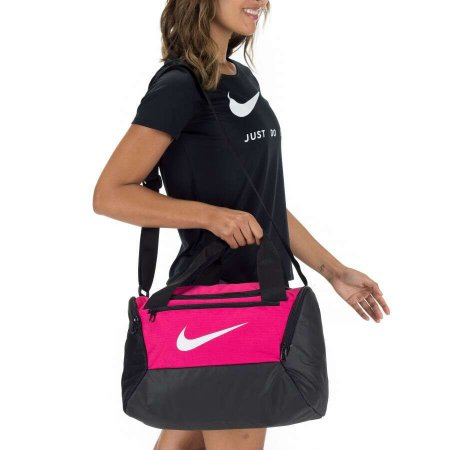 Bolsa Nike Brasilia Xs Duff 9.0 - 25 Litros - Rosa e Preto BA5961-666