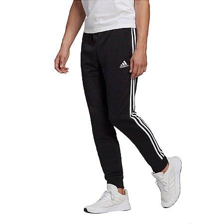 Calça Moletom Adidas Essentials 3 Stripes Masculina - Preto+Branco
