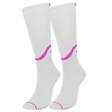 Meia de Compressão Selene 3/4 Esportiva Feminina - Branco+Pink 34-39