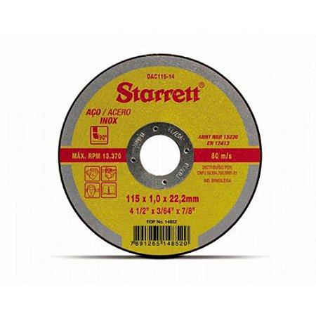 Disco de Corte Ferro e Inox 115mm x 1,0mm com 10 peças - Starrett
