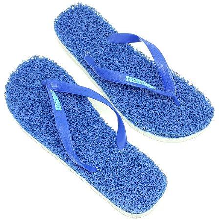 Chinelo Funcional Anti Stress Massageador Azul com Branco