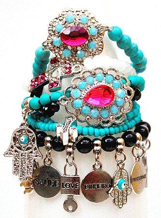 Mix de pulseiras pink blue