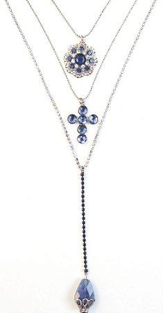 Mix de colares com pedra azul marinho