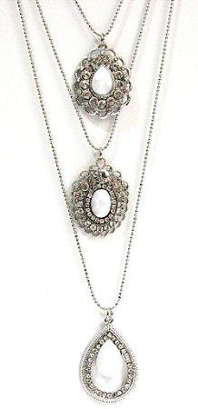 Mix de colares prata com pedra branca