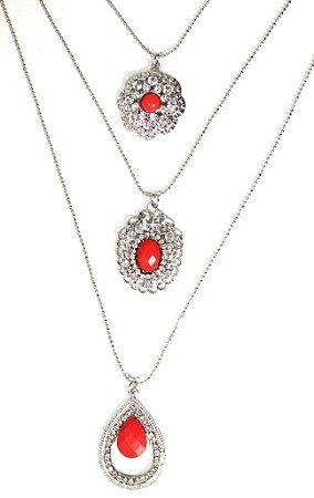 Mix de colares prata com pedra vermelha leitosa