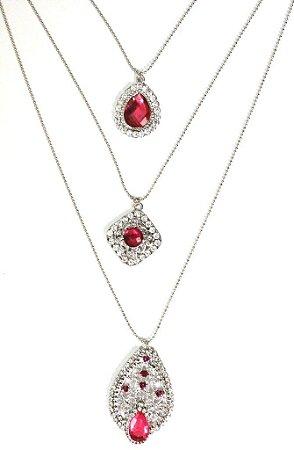 Mix de colares prata com pedra pink