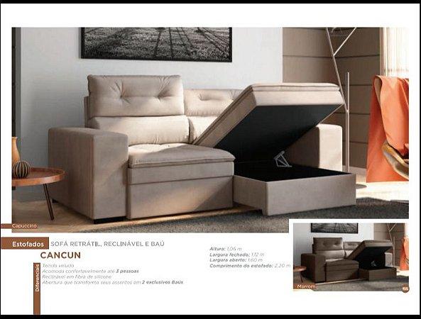 Sofá retrátil, reclinável e baú Cancun. - Moveis Multi