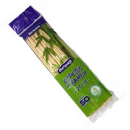 Espetinho Bambu -  Com 50un. - Bompack