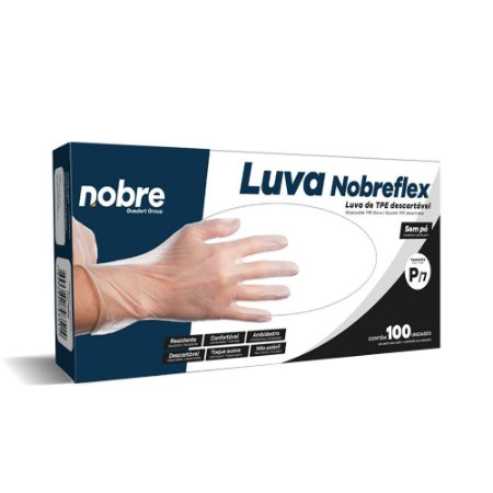 Luva TPE - Transparente - c/100unid.  - Nobreflex - Nobre