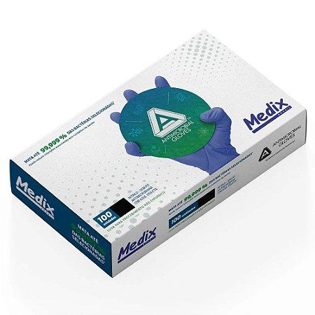 Luva Nitrílica Antimicrobiana - para Procedimento não Cirúrgico - Sem Pó - 100 unidades - Medix