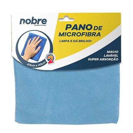 Pano de Microfibra 40x40cm Azul - pacote com 2un - Nobre