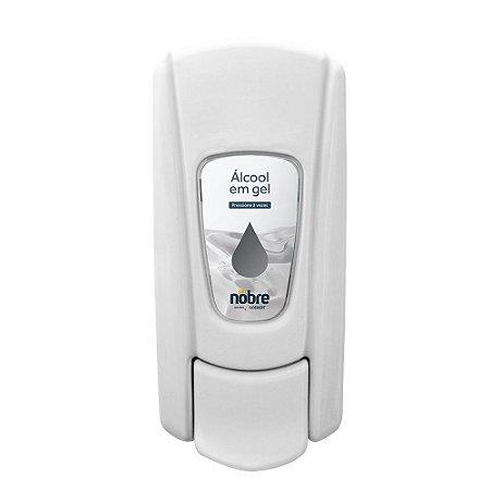 Dispenser para Álcool gel - Com reservatório  - Branco - Linha City - Nobre