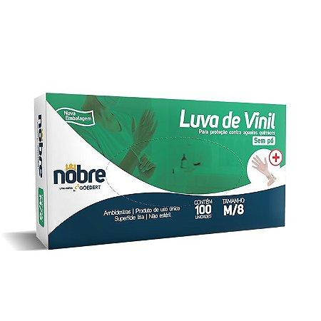 Luva de vinil - Sem Pó - para proteção contra agentes químicos - Caixa com 100un - Nobre *LIMITE DE 10 CAIXAS POR PEDIDO