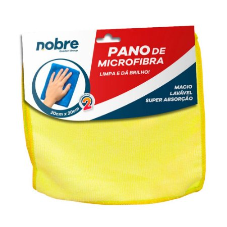 Pano de Microfibra 20x20cm Amarelo - pacote com 2un - Nobre