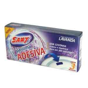 """Pedra sanitária """"pastilhas adesivas""""  lavanda- cartela com 3 unidades - SANY"""