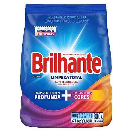 Detergente sanitizante sabão em pó limpeza total 800 gr - sachê - BRILHANTE