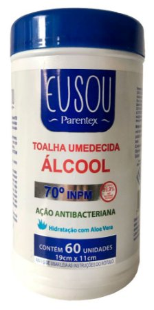 Toalha Umedecida - Com Álcool 70° Bactericida - Parentex