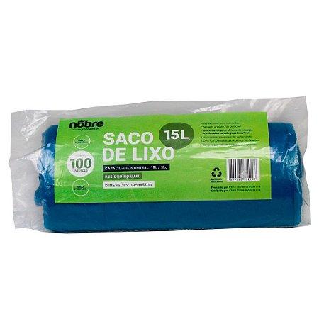 Saco Plástico para Lixo - 15L - Com 100 unid - Cor Azul - Nobre