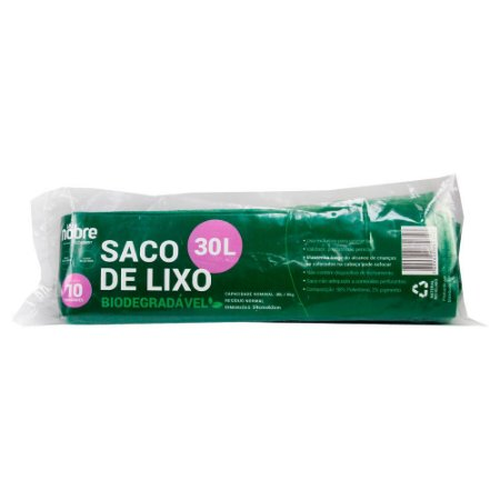 Saco Plástico para Lixo - Biodegradável - 30L - Com 10 unid. - Cor Verde - Nobre