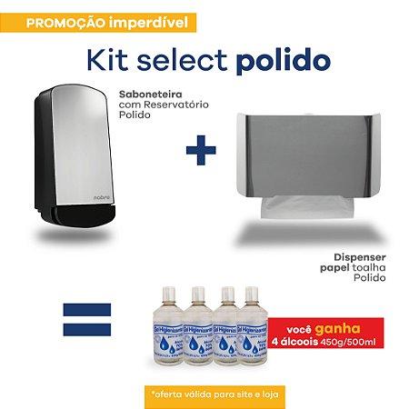 Kit Dispenser Papel Toalha e Saboneteira - Frente em Inox Polido - Linha Select - Nobre
