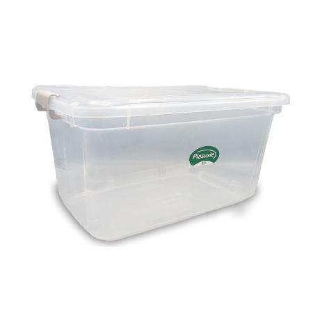 Caixa organizadora com tampa 27 litros translucido - Plasvale
