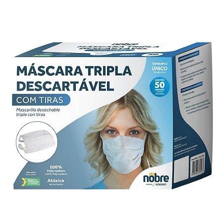 Máscara Descartável Tripla - com Tiras - 50unid - Nobre