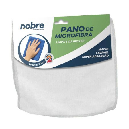 Pano de Microfibra 30x30cm Branco - pacote com 2un - Nobre