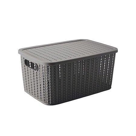 Caixa Trama - com tampa - 4,7L - Cinza - Plasútil