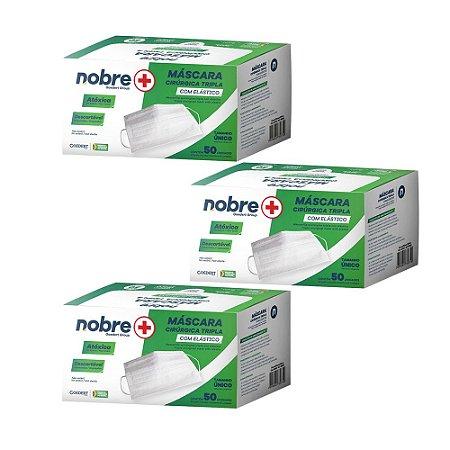 Kit Proteção - 3 caixas Máscara de Proteção Tripla - Filtro 99,7% - com Elástico - Caixa com 50 un - NB005 - Nobre