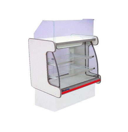 Balcao Caixa Vidro Semi Curvo Pop Luxo Polofrio Branco e Vermelho  1,25 M