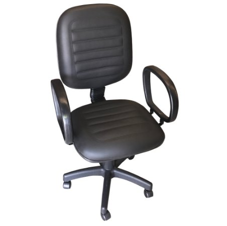 Cadeira Diretora Giratoria em Corino Gomado com Base Preta e Braco Corsa Solid Preto