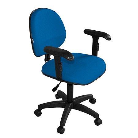 Cadeira Executiva Giratoria com Braco Regulavel em Tecido Solid Azul