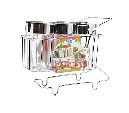 Mini Carrinho com 6 Porta Condimentos Arthi Cromado