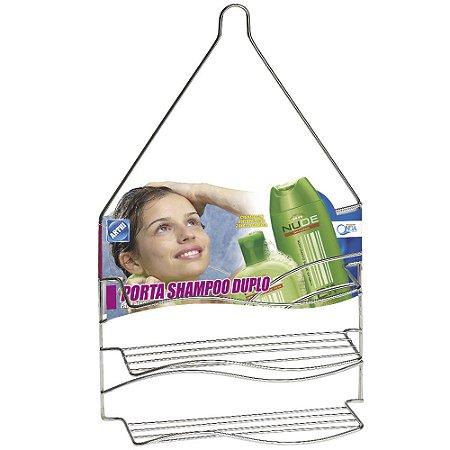 Porta Shampoo Duplo Onda Arthi Cromado