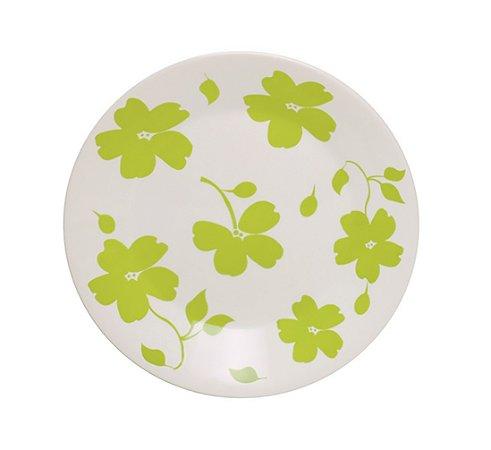 Prato de Porcelana Decorado Raso Jasmim Primavera Actual Biona Oxford 26 Cm