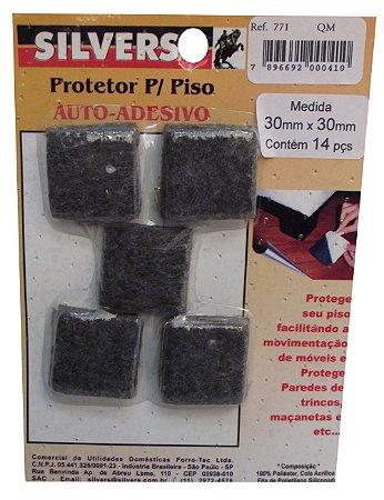 Protetor para Piso Quadrado Preto Auto-adesivo 3x3cm Silver's Preto