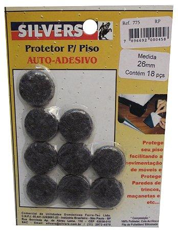 Protetor para Piso Redondo Preto Auto-adesivo 2,6cm Silver's Preto 2,6 Cm