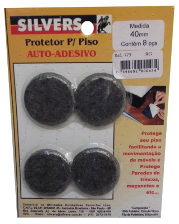 Protetor para Piso Redondo Preto Auto-adesivo Silver's Preto 04 Cm
