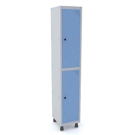 Roupeiro de Aco 1 Vao 2 Portas com Pitao Pandin Cinza e Azul Dali  1,90 M