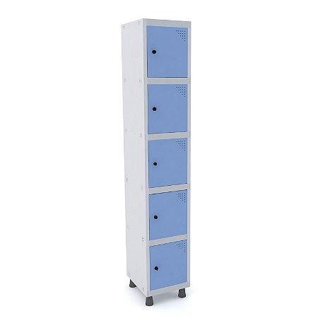 Roupeiro de Aco 1 Vao 5 Portas com Pitao Pandin Cinza e Azul Dali  1,90 M