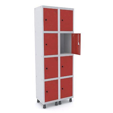Roupeiro de Aco 2 Vaos 8 Portas com Pitao Pandin Cinza e Vermelho  1,90 M