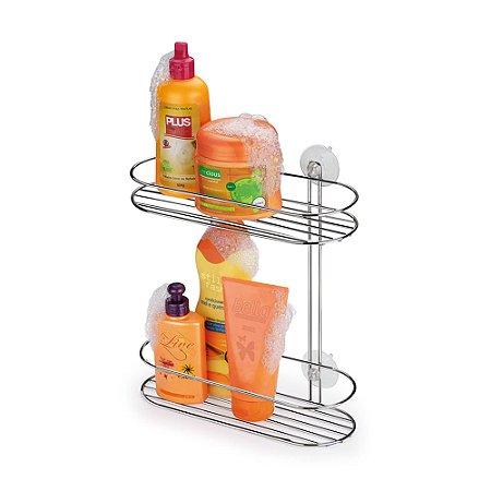 Suporte Duplo para Shampoo com Ventosas Doublefix Art Cromado