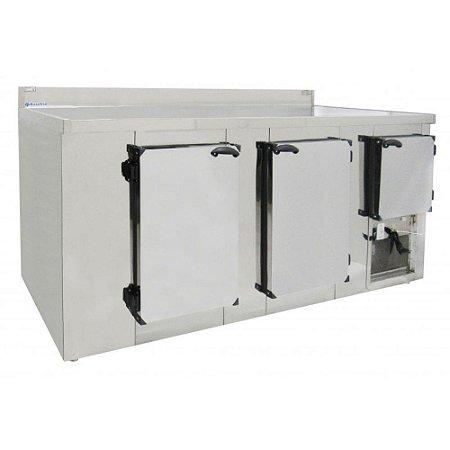 Balcao Refrigerado em Aco Inox com Encosto Basefrio 2,00 M 220 V